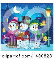 Clipart Of A Group Of Snowmen Singing Christmas Carols In A Village Royalty Free Vector Illustration