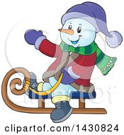Clipart Of A Christmas Snowman Waving And Sledding Royalty Free Vector Illustration by visekart
