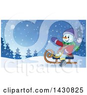 Clipart Of A Christmas Snowman Waving And Sledding Royalty Free Vector Illustration