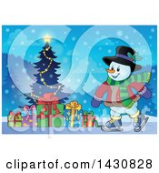 Clipart Of A Happy Snowman Ice Skating By A Christmas Tree Royalty Free Vector Illustration