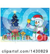 Clipart Of A Christmas Snowman Ringing A Bell By A Tree Royalty Free Vector Illustration