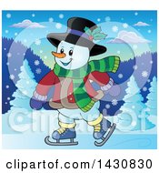 Clipart Of A Happy Snowman Ice Skating Royalty Free Vector Illustration