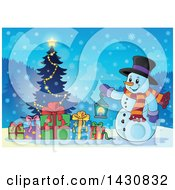 Clipart Of A Christmas Snowman Holding A Lantern By A Tree Royalty Free Vector Illustration