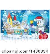 Clipart Of A Christmas Snowman Ringing A Bell In A Village Royalty Free Vector Illustration