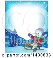 Clipart Of A Border Of A Christmas Snowman Sledding Royalty Free Vector Illustration