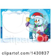 Christmas Snowman Ringing A Bell By A Blank Sign