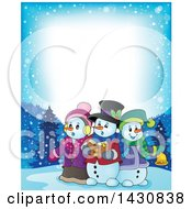 Clipart Of A Border Of A Group Of Snowmen Singing Christmas Carols Royalty Free Vector Illustration