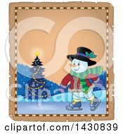 Clipart Of A Christmas Snowman Ice Skating Over A Parchment Scroll Royalty Free Vector Illustration by visekart