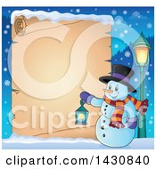 Clipart Of A Christmas Snowman Holding A Lantern Over A Parchment Scroll Royalty Free Vector Illustration by visekart