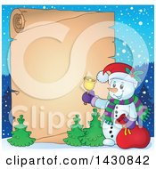 Clipart Of A Christmas Snowman Ringing A Bell Over A Parchment Scroll Royalty Free Vector Illustration by visekart