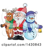 Clipart Of A Christmas Snowman And Reindeer Posing With Santa Royalty Free Vector Illustration by visekart