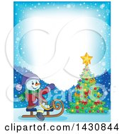 Clipart Of A Border Of A Christmas Snowman Sledding By A Christmas Tree Royalty Free Vector Illustration
