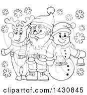 Clipart Of A Black And White Lineart Christmas Snowman And Reindeer Posing With Santa Royalty Free Vector Illustration