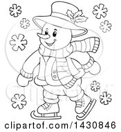 Clipart Of A Black And White Lineart Happy Snowman Ice Skating Royalty Free Vector Illustration