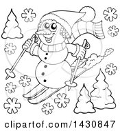 Clipart Of A Black And White Lineart Snowman Skiing Royalty Free Vector Illustration by visekart