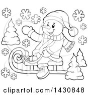 Clipart Of A Black And White Lineart Christmas Snowman Waving And Sledding Royalty Free Vector Illustration