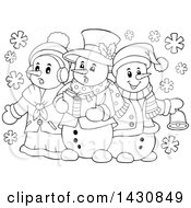 Clipart Of A Black And White Lineart Group Of Snowmen Singing Christmas Carols Royalty Free Vector Illustration