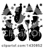 Black And White Silhouetted Christmas Snowmen