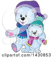 Clipart Of A Happy Christmas Polar Bear And Cub Walking Royalty Free Vector Illustration