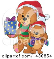 Clipart Of A Happy Christmas Bear And Cub With A Gift Royalty Free Vector Illustration