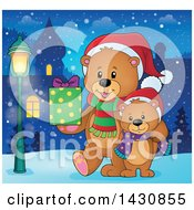 Clipart Of A Happy Christmas Bear And Cub Walking With A Gift In A Village Royalty Free Vector Illustration