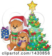 Clipart Of A Happy Bear And Cub With A Gift By A Christmas Tree Royalty Free Vector Illustration