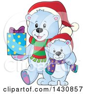 Clipart Of A Happy Christmas Polar Bear And Cub Holding A Gift Royalty Free Vector Illustration