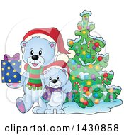 Clipart Of A Happy Christmas Polar Bear And Cub Holding A Gift By A Tree Royalty Free Vector Illustration by visekart