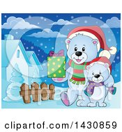 Clipart Of A Happy Christmas Polar Bear And Cub Walking With A Gift In A Village Royalty Free Vector Illustration