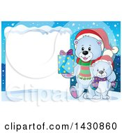 Clipart Of A Happy Christmas Polar Bear And Cub Holding A Gift By A Blank Sign Royalty Free Vector Illustration