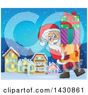 Clipart Of A Jolly Santa Claus Carrying A Stack Of Christmas Gifts In A Village Royalty Free Vector Illustration