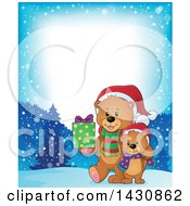 Clipart Of A Border Of A Happy Christmas Bear And Cub Walking With A Gift On A Snowy Night Royalty Free Vector Illustration