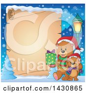 Clipart Of A Border Of A Happy Christmas Bear And Cub Walking With A Gift Over Parchment Paper Royalty Free Vector Illustration