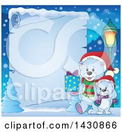 Clipart Of A Border Of A Happy Christmas Polar Bear And Cub Walking With A Gift Over Icy Parchment Paper Royalty Free Vector Illustration by visekart