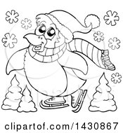 Clipart Of A Black And White Lineart Penguin Ice Skating Royalty Free Vector Illustration