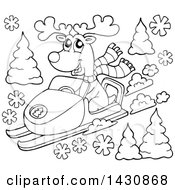 Clipart Of A Black And White Lineart Reindeer Snow Mobiling Royalty Free Vector Illustration