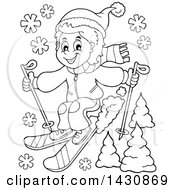 Clipart Of A Black And White Lineart Boy Skiing Royalty Free Vector Illustration by visekart