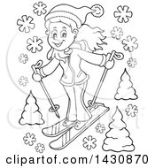 Clipart Of A Black And White Lineart Girl Skiing Royalty Free Vector Illustration by visekart
