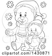 Clipart Of A Black And White Lineart Happy Christmas Bear And Cub Walking Royalty Free Vector Illustration