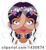 Clipart Of A Happy Girl With Flowers In Her Hair Royalty Free Vector Illustration