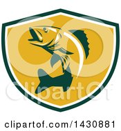 Clipart Of A Retro Walleye Fish Jumping In A Green White And Orange Shield Royalty Free Vector Illustration