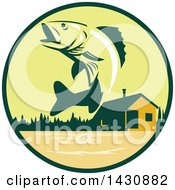 Clipart Of A Retro Walleye Fish Jumping In Front Of A Lake Cabin In A Green And Orange Circle Royalty Free Vector Illustration