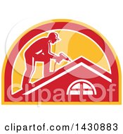 Clipart Of A Retro Male Worker Using A Hand Drill On A Roof In A White Red And Orange Half Circle Royalty Free Vector Illustration