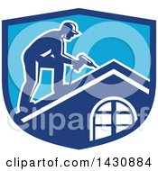 Clipart Of A Retro Male Worker Using A Hand Drill On A Roof In A Blue Crest Royalty Free Vector Illustration