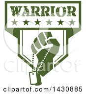 Clipart Of A Retro Clenched Fist Holding Military Dog Tags In A Green And White Warrior Crest Royalty Free Vector Illustration by patrimonio