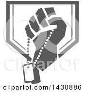 Retro Clenched Fist Holding Military Dog Tags In A Gray And White Crest