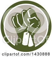 Retro Clenched Fist Holding Military Dog Tags In A Green White And Taupe Circle