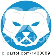 Clipart Of A Retro White Polar Bear Face In A Blue Circle Royalty Free Vector Illustration by patrimonio