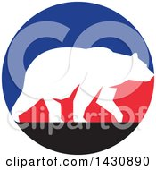 Clipart Of A White Silhouetted Grizzly Bear Walking In A Blue Red And Black Circle Royalty Free Vector Illustration by patrimonio