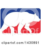 Clipart Of A White Silhouetted Grizzly Bear Walking In A Red And Blue Rectangle Royalty Free Vector Illustration